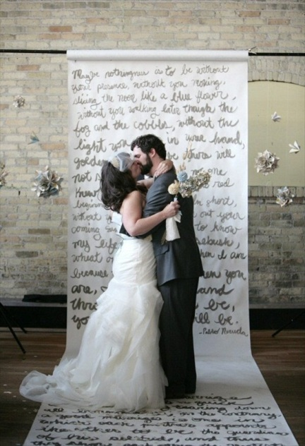 book art wedding backdrop