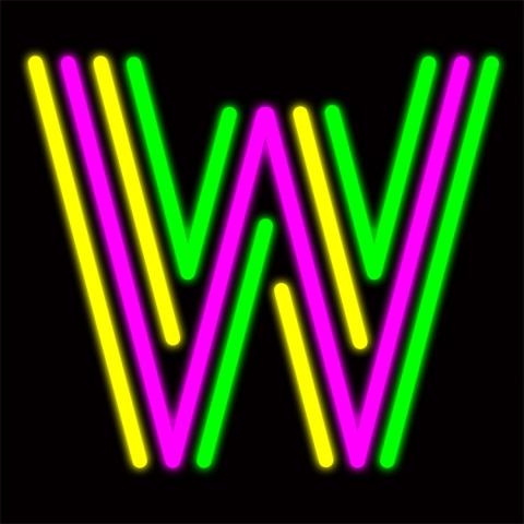 fluorescent-W letter